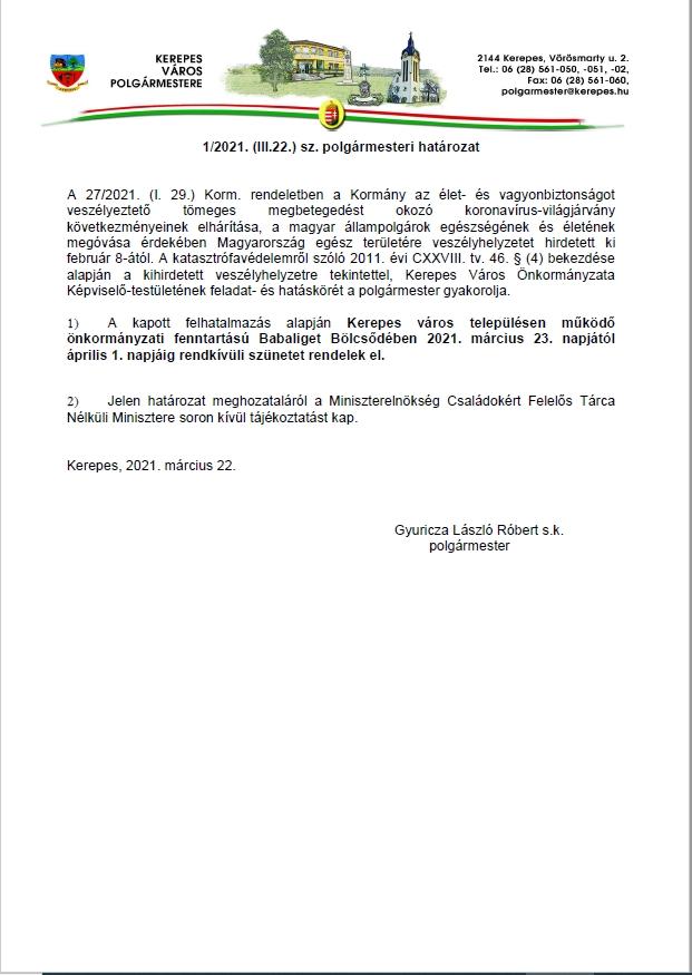Polgármesteri határozat 2021.03.22.